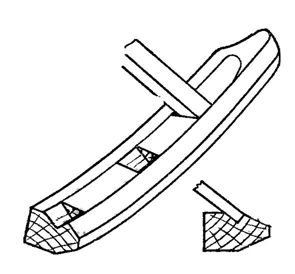 Выборка гнезд шпунта в форштевне
